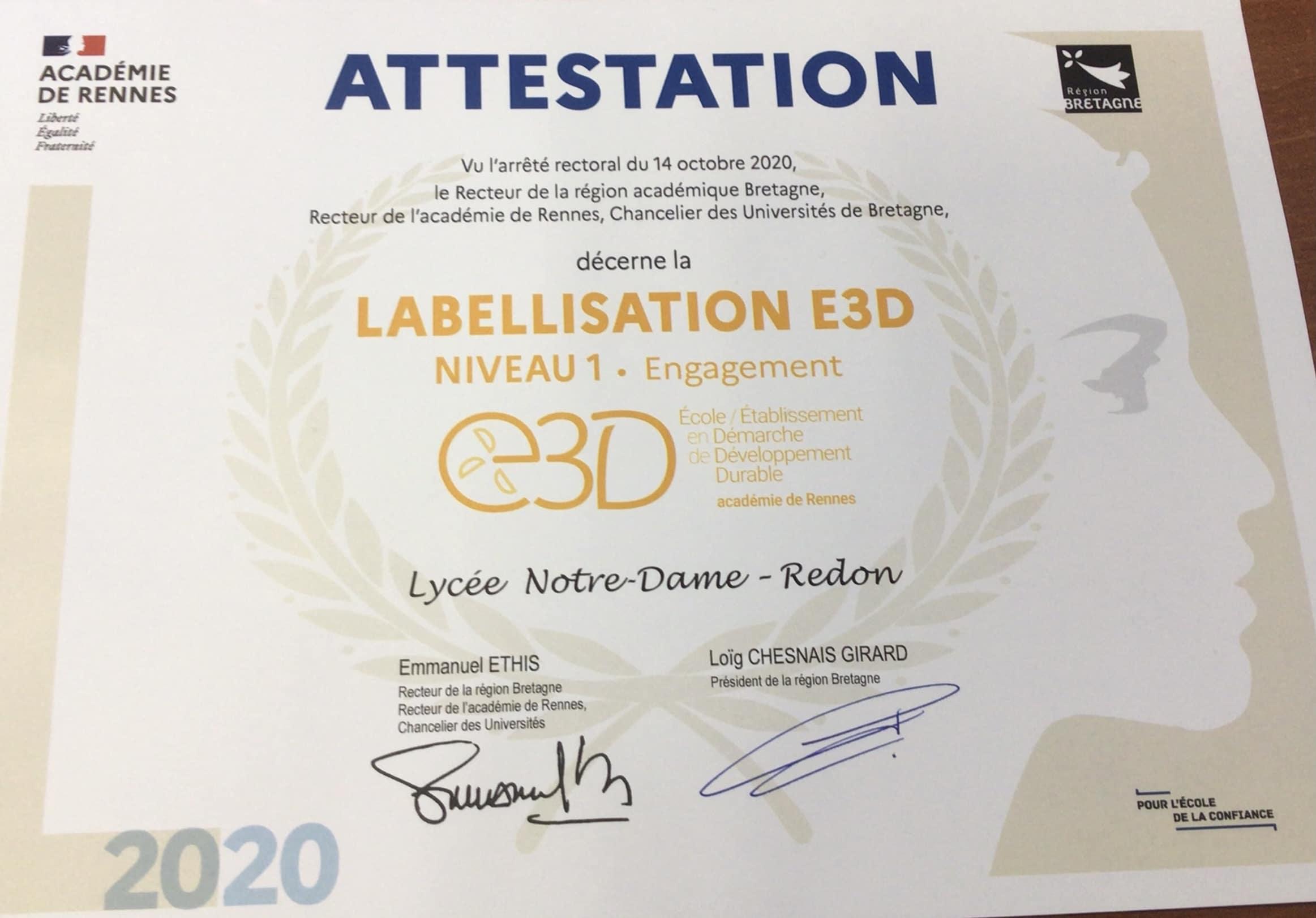 Labellisation E3D  pour le développement durable